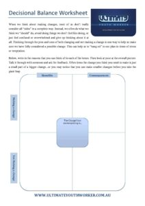 Decisional Balance Worksheet - Ultimate Youth Worker